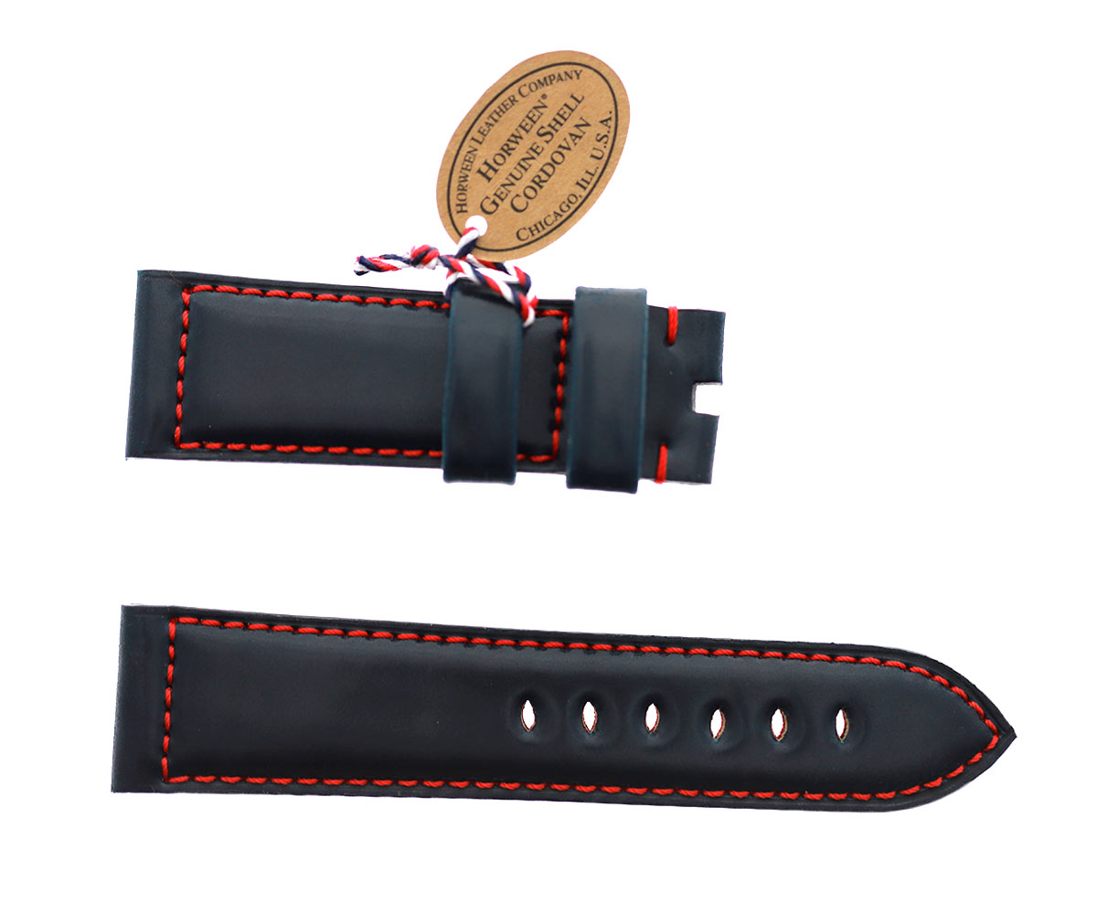 Navy Blue Horween Shell Cordovan Panerai style watch strap 24mm / Red Stitching