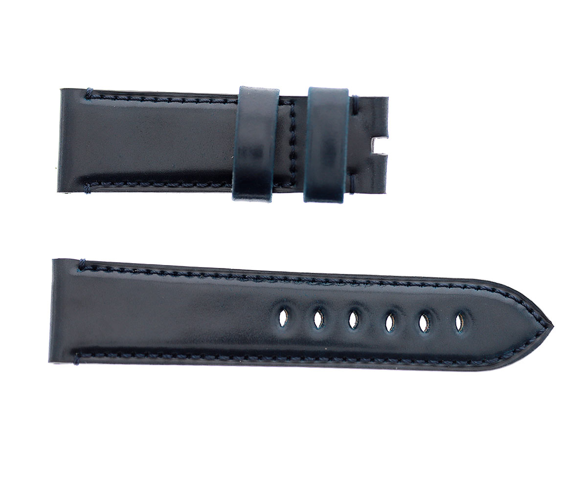 Navy Blue Horween Shell Cordovan Panerai style watch strap 24mm