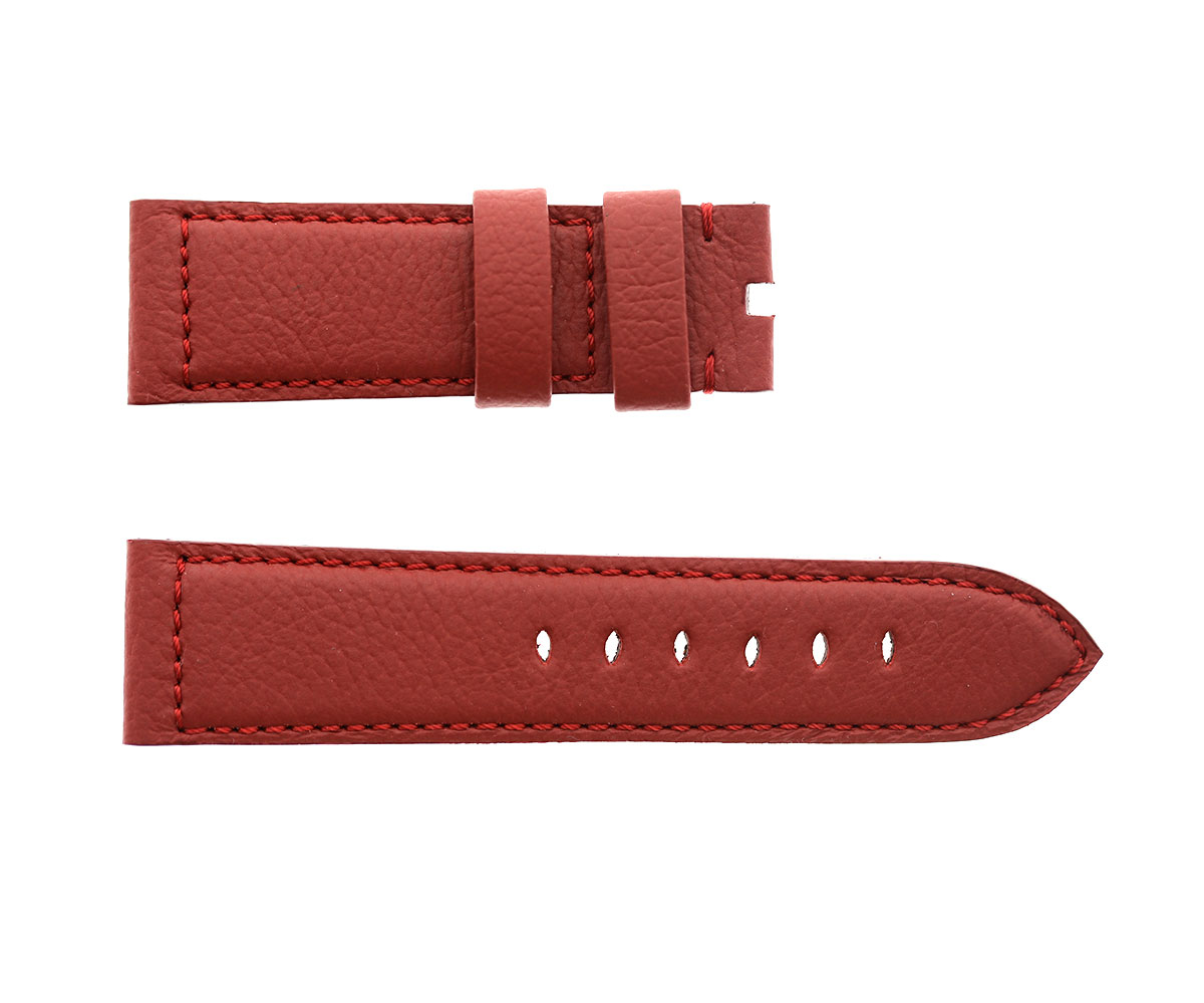 Cardinal Red (Dark) English Connolly leather strap 24mm for Panerai. Alcantara lining