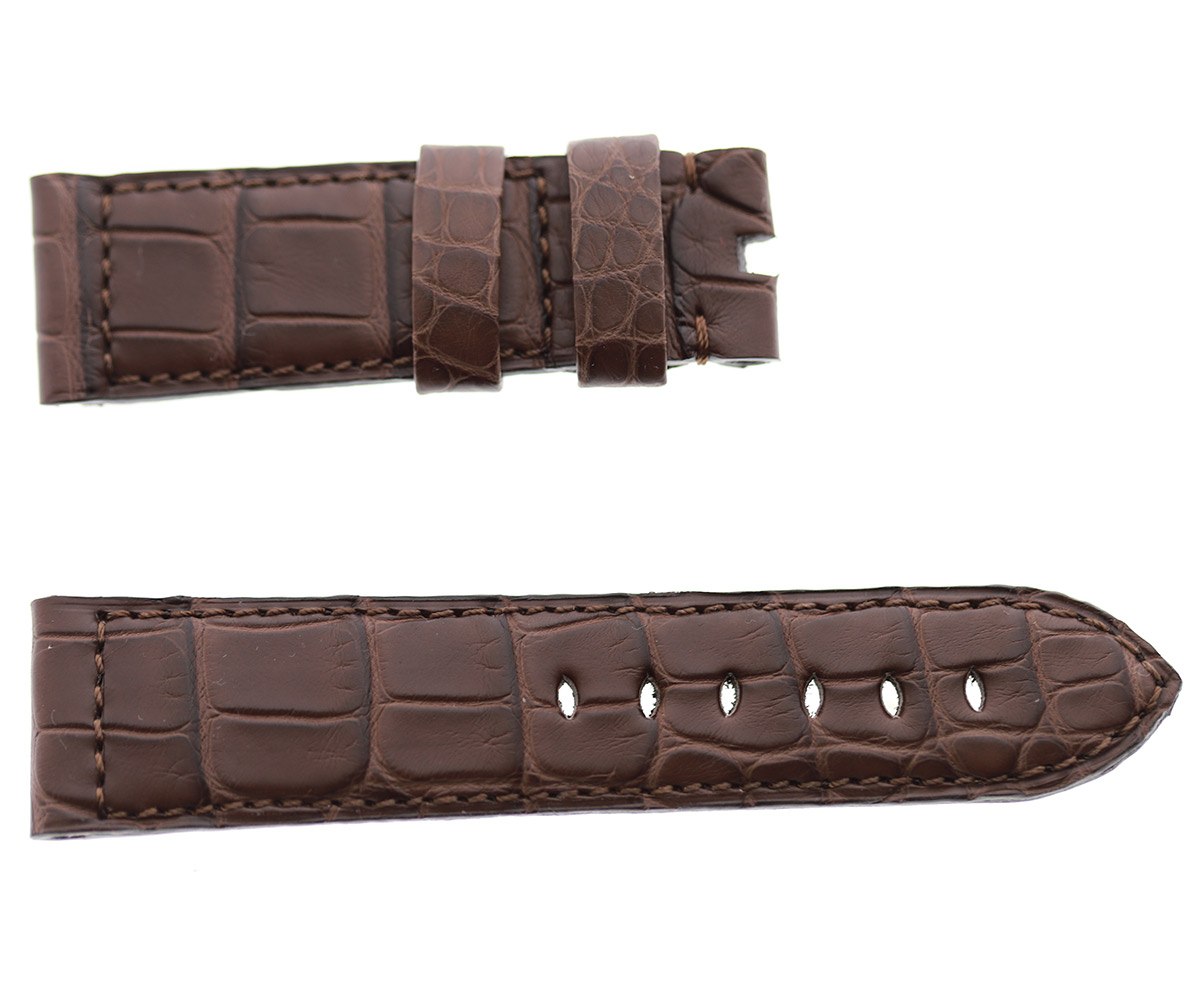 PANERAI style watch strap 24mm in Brown Impermeable Alligator leather. Regular stitching