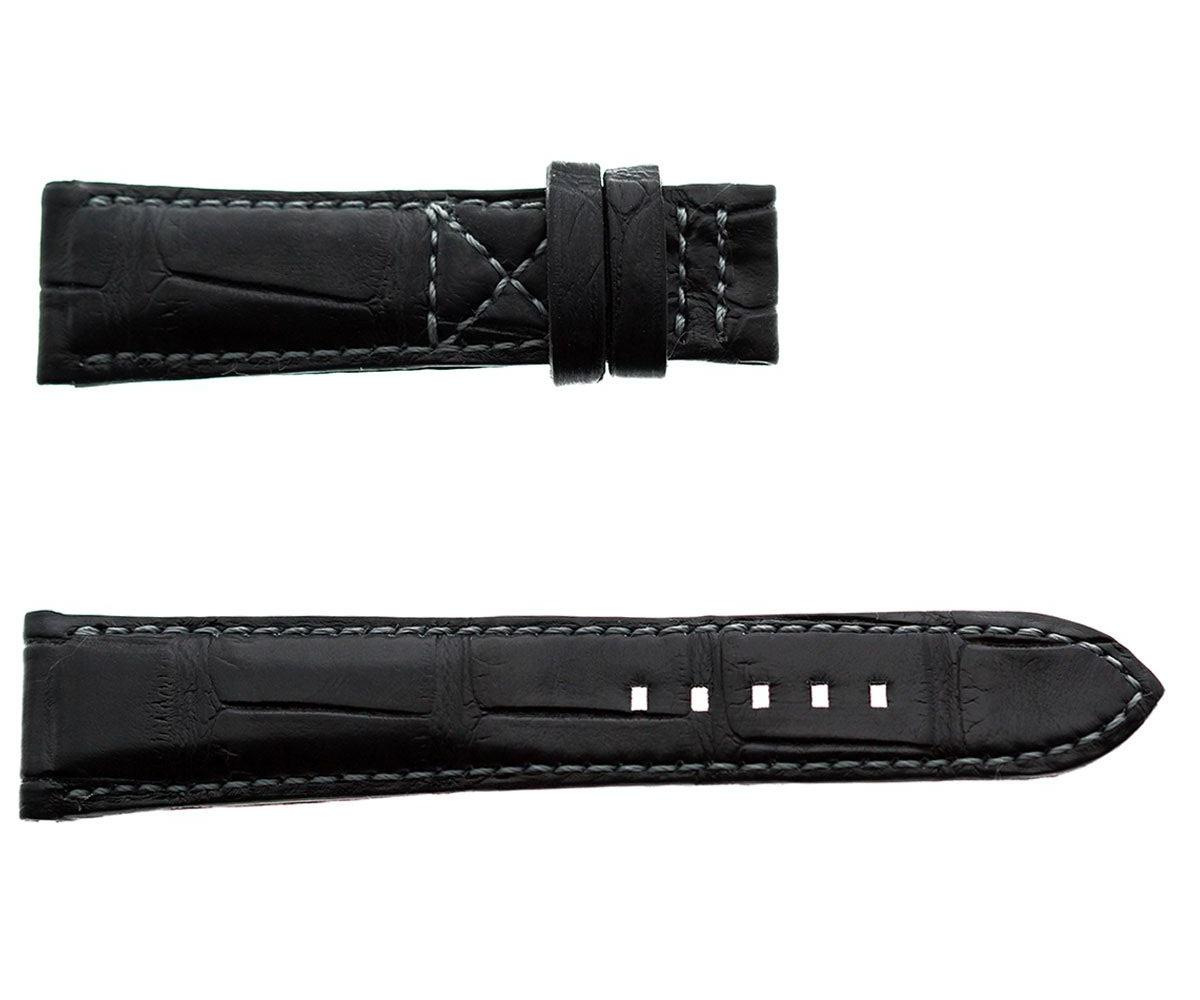 Black Matte Alligator leather strap 21mm Patek Philippe Pilot / Calatrava style