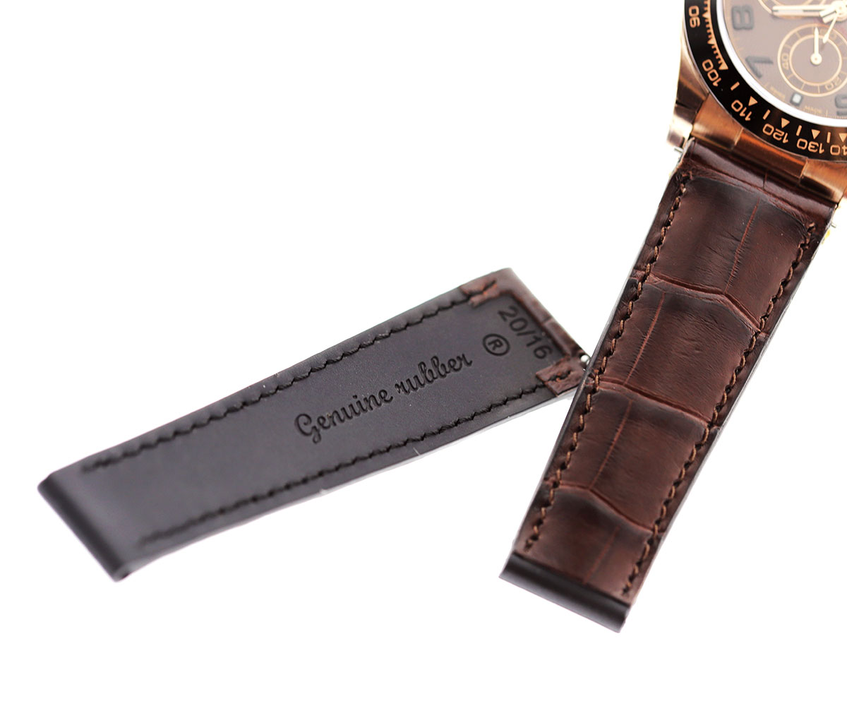 Combination: Brown Alligator leather top on a natural Rubber base strap 20mm for Rolex Daytona style timepieces