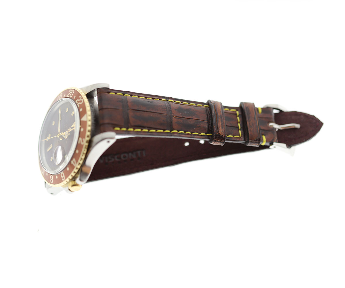 Vintaged Brown Alligator leather strap 20mm Rolex Oyster Perpetual / GMT style