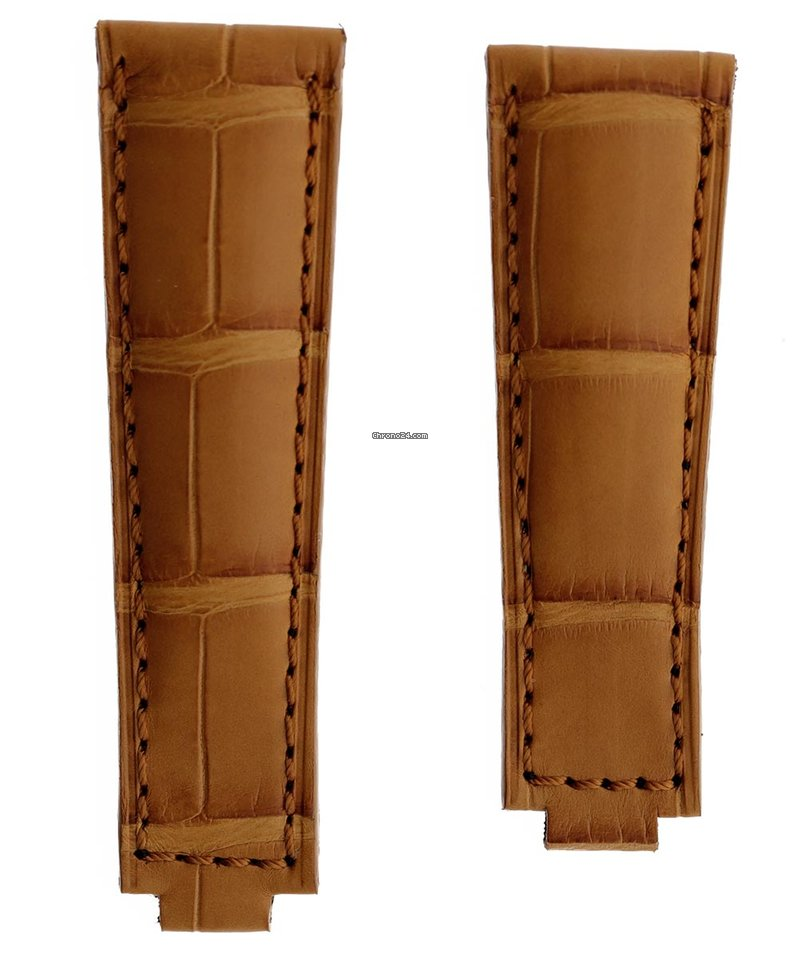 Honey Brown Alligator leather strap 20mm for Rolex Daytona / Yacht Master with Oysterflex
