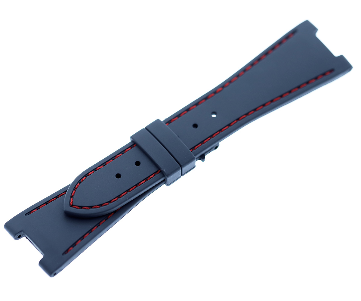 INDIGO BLUE rubber strap for NAUTILUS / PATEK PHILIPPE / Red stitching