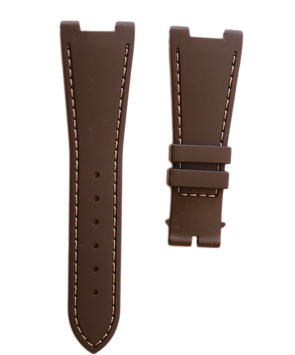 Chocolate Brown Natural Rubber Strap 28mm with Special Inserts for Patek Philippe Nautilus