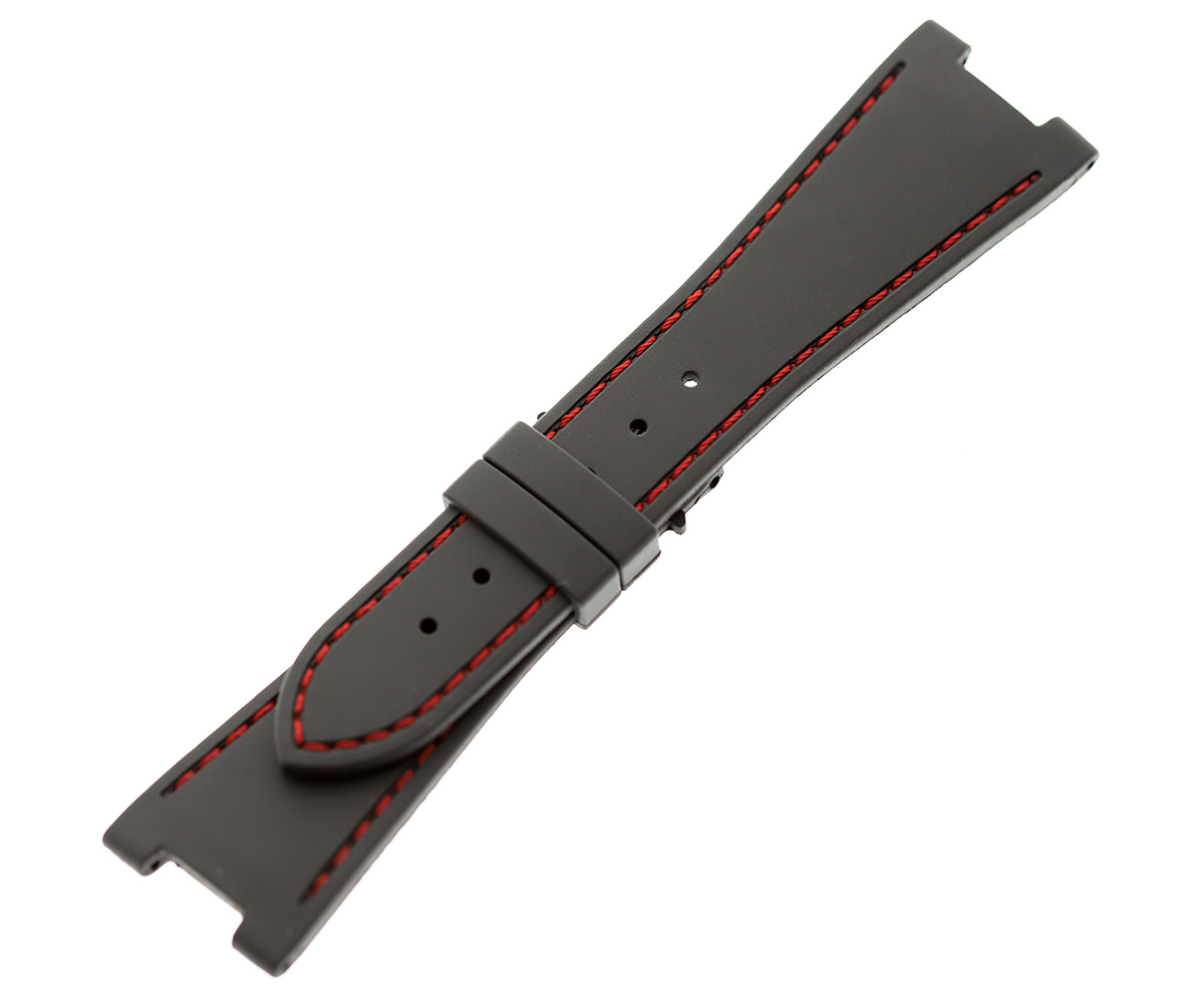 GREY rubber strap for NAUTILUS / PATEK PHILIPPE / Red stitching