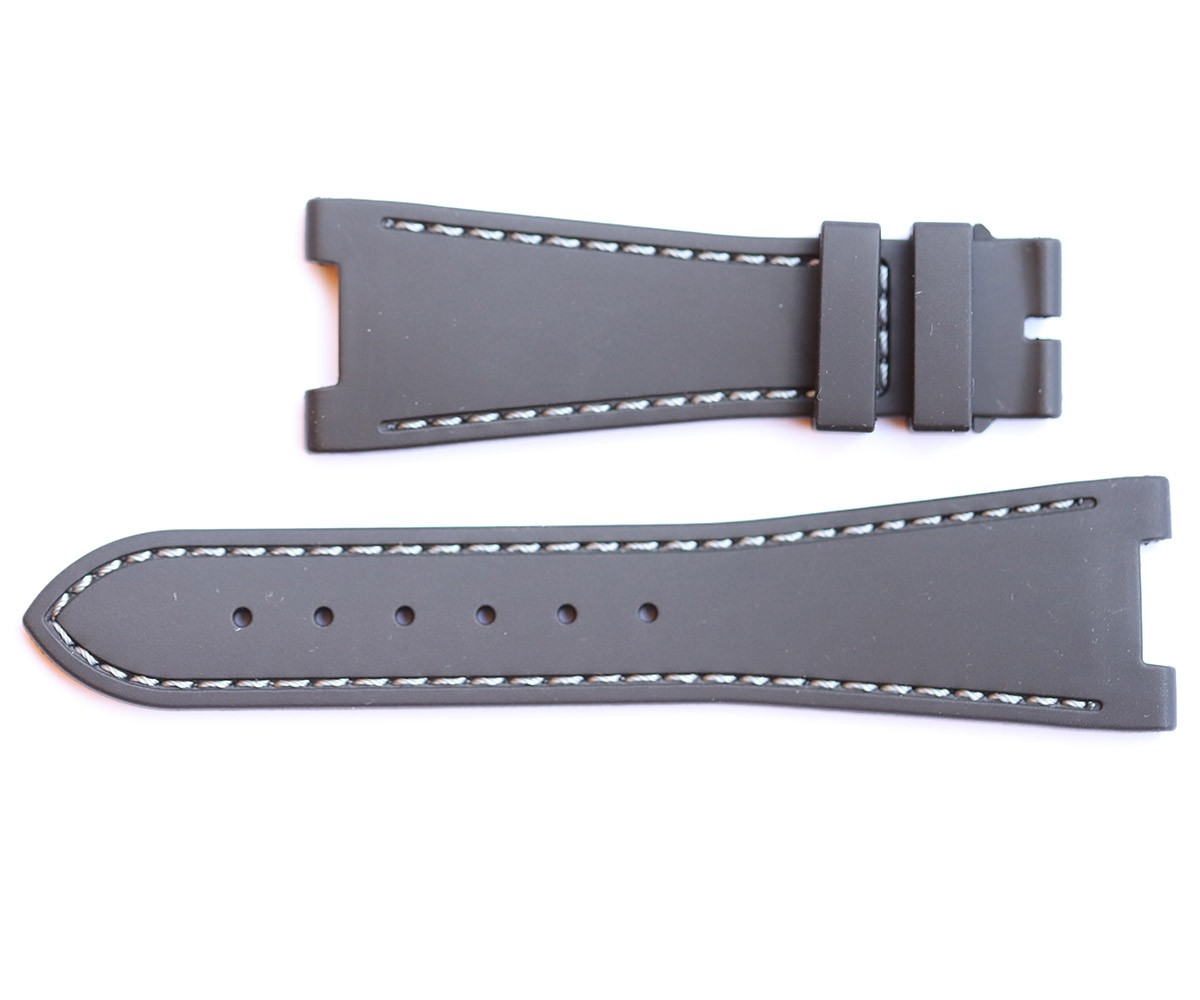 GREY rubber strap for NAUTILUS / PATEK PHILIPPE / White stitching