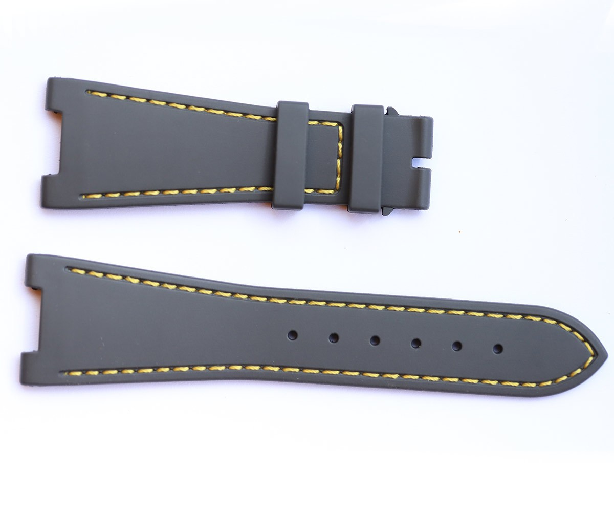 GREY rubber strap for NAUTILUS / PATEK PHILIPPE / Yellow stitching