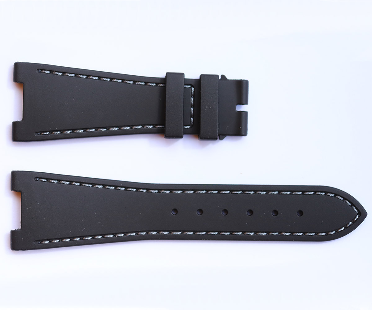 BLACK rubber strap for NAUTILUS / PATEK PHILIPPE / Grey Stitching
