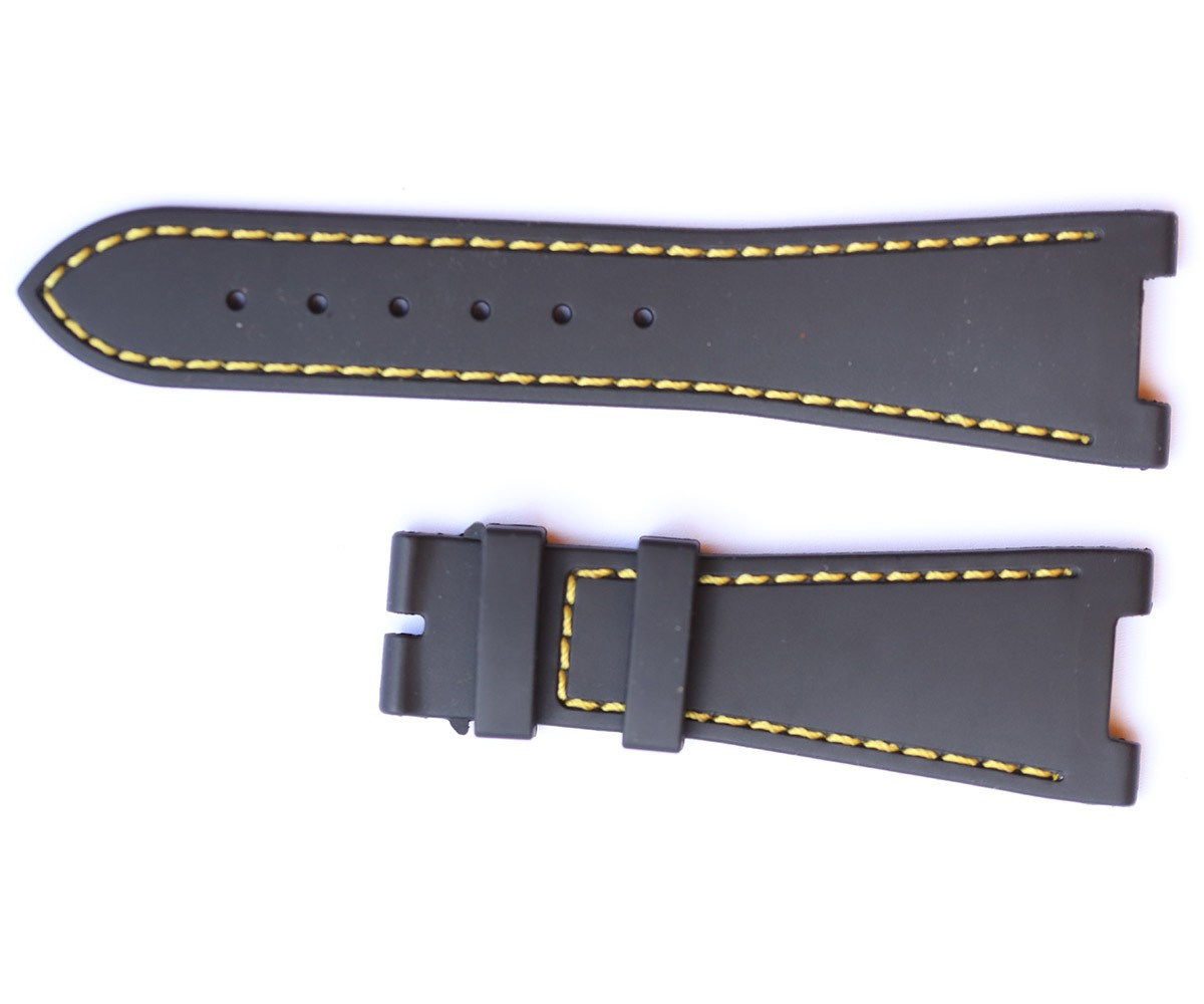 BLACK rubber strap for NAUTILUS / PATEK PHILIPPE / Yellow Stitching