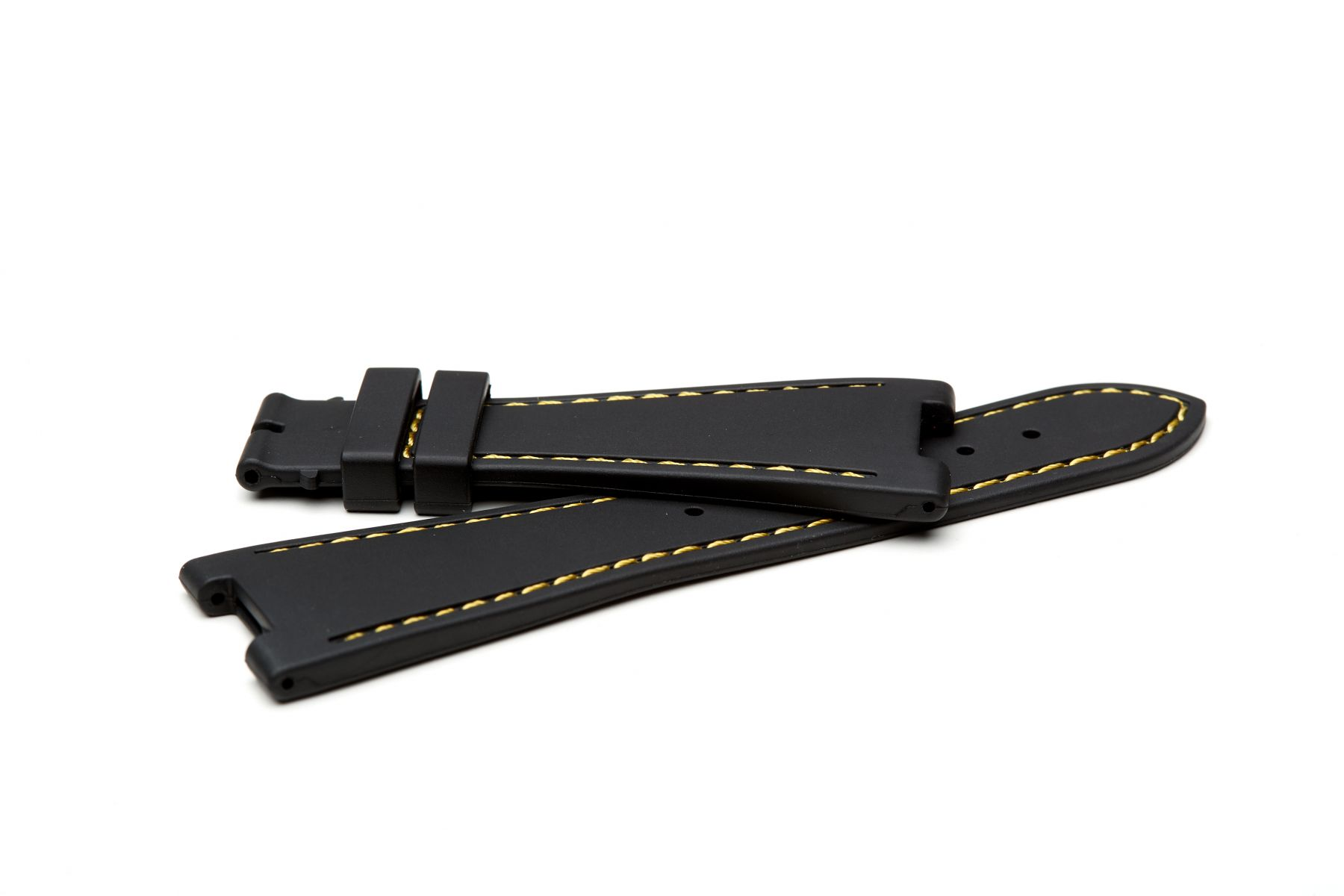 Anthracite Black / Yellow Stitching / Natural Rubber Strap for Patek Philippe Nautilus