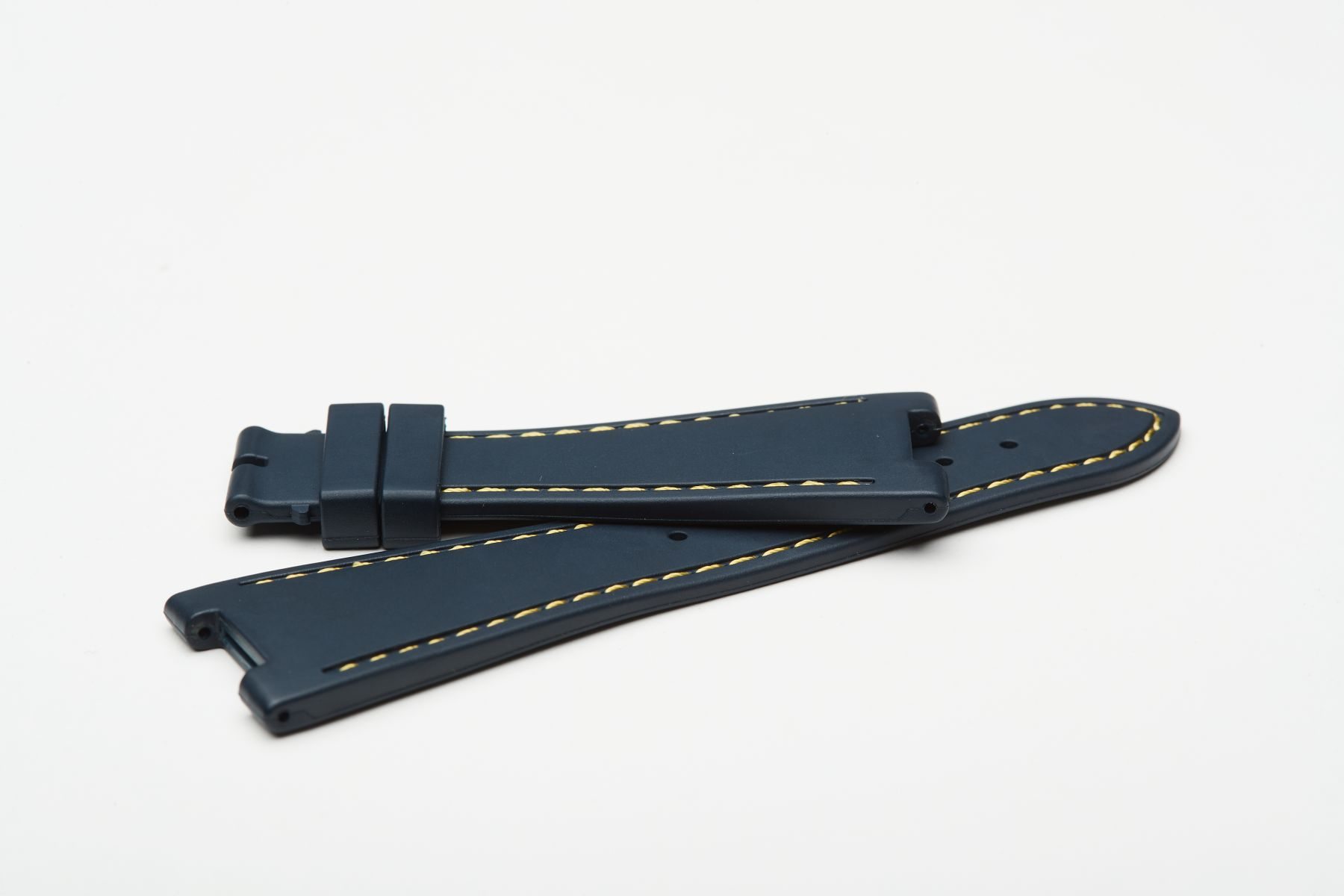 Deep Sea Blue / Yellow Stitching / Natural Rubber Strap for Patek Philippe Nautilus
