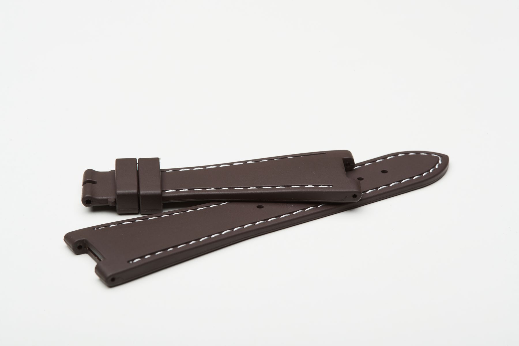 Chocolate Brown / White Stitching / Natural Rubber Strap for Patek Philippe Nautilus