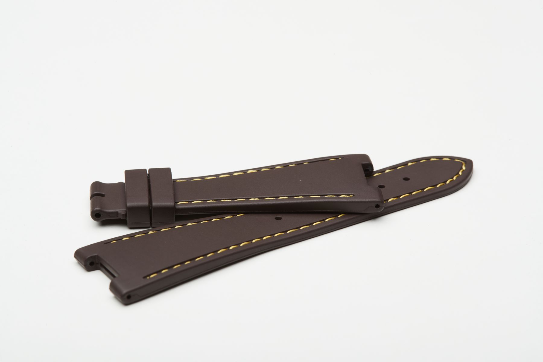 Chocolate Brown / Yellow Stitching / Natural Rubber Strap for Patek Philippe Nautilus