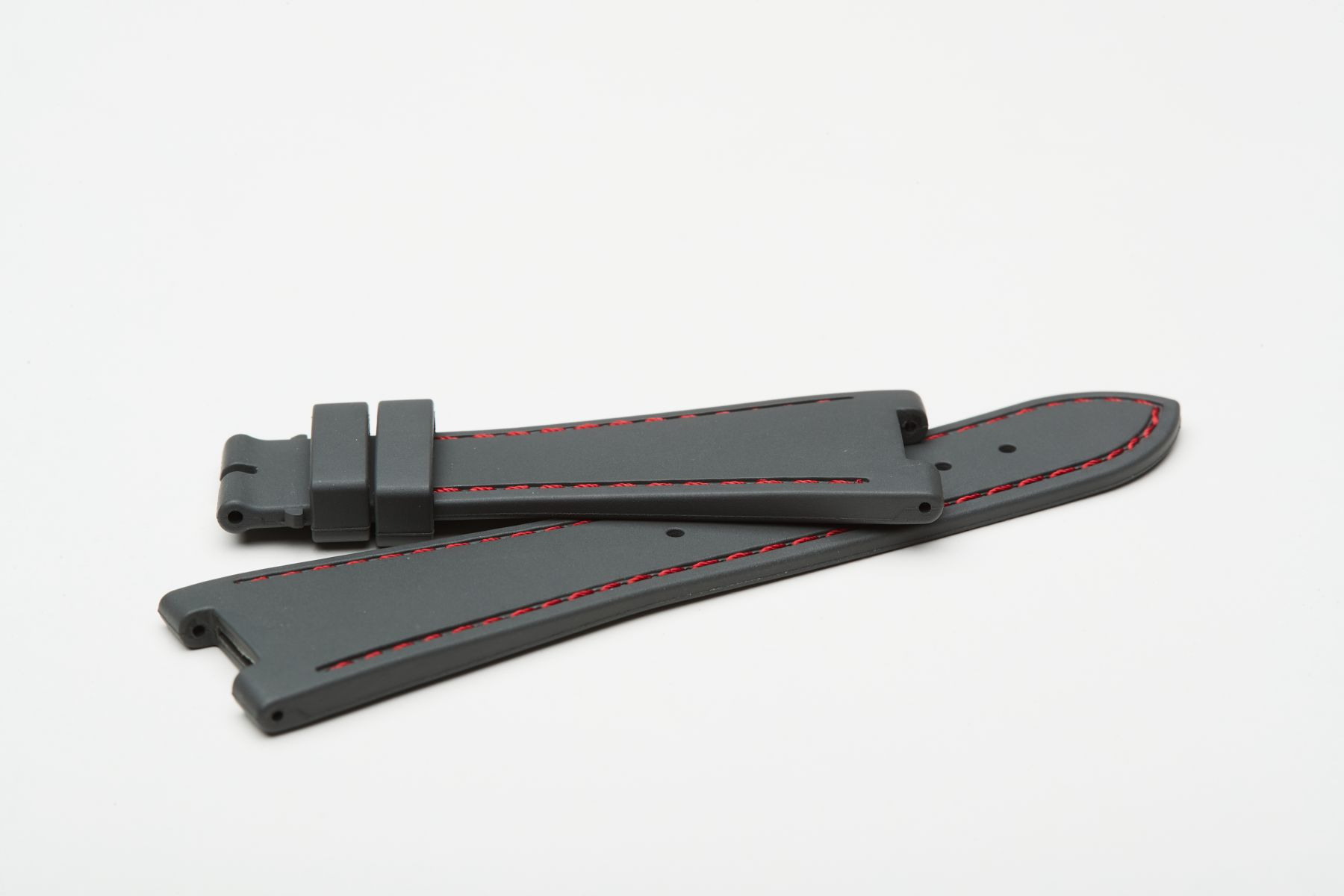 Milano Grey / Red Stitching / Natural Rubber Strap for Patek Philippe Nautilus