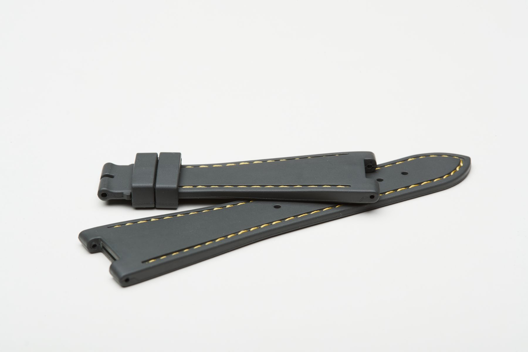 Milano Grey / Yellow Stitching / Natural Rubber Strap for Patek Philippe Nautilus
