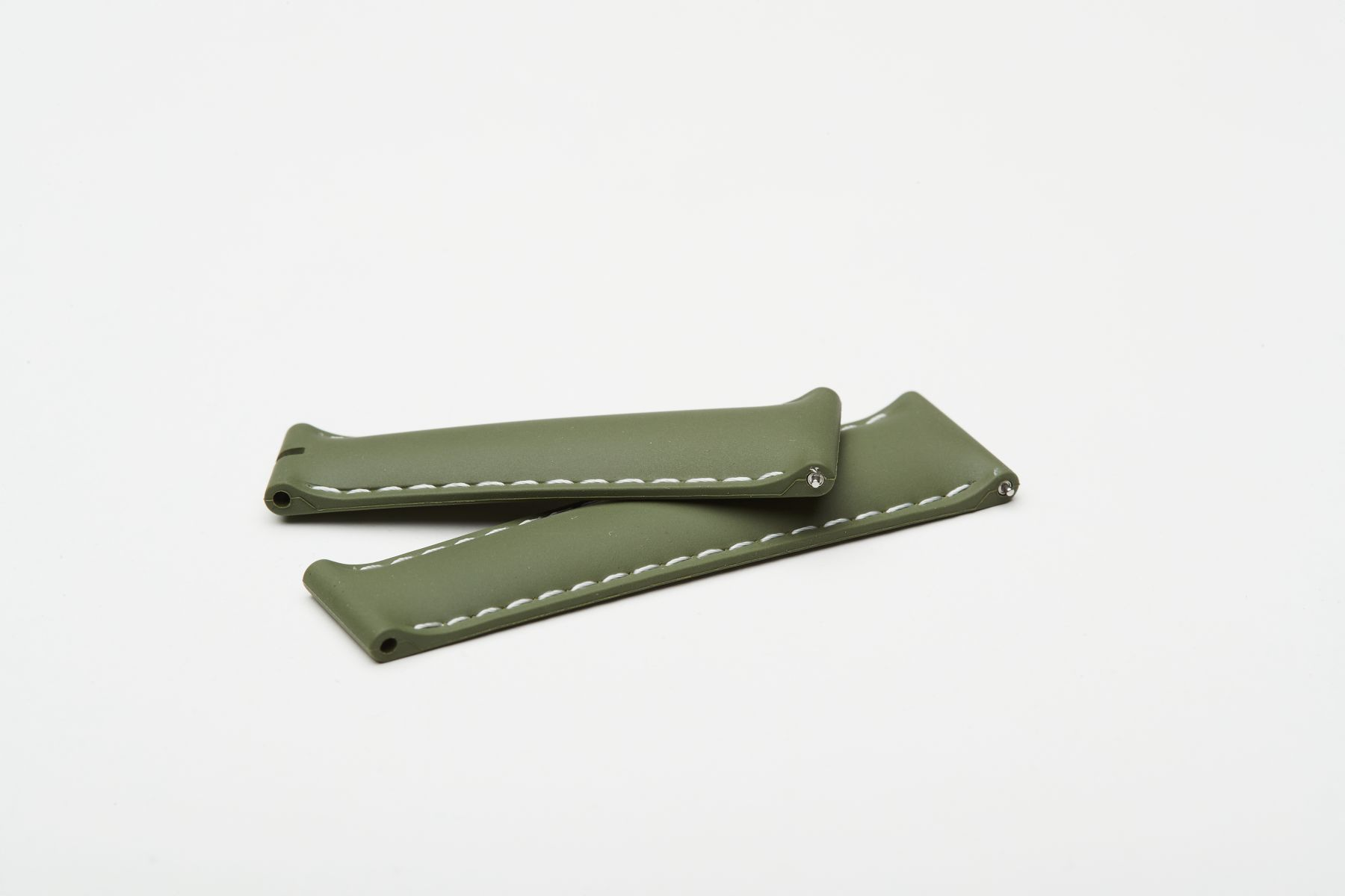 Khaki Green / White stitching / Natural Rubber Band 20mm for Rolex Daytona / Quick Release