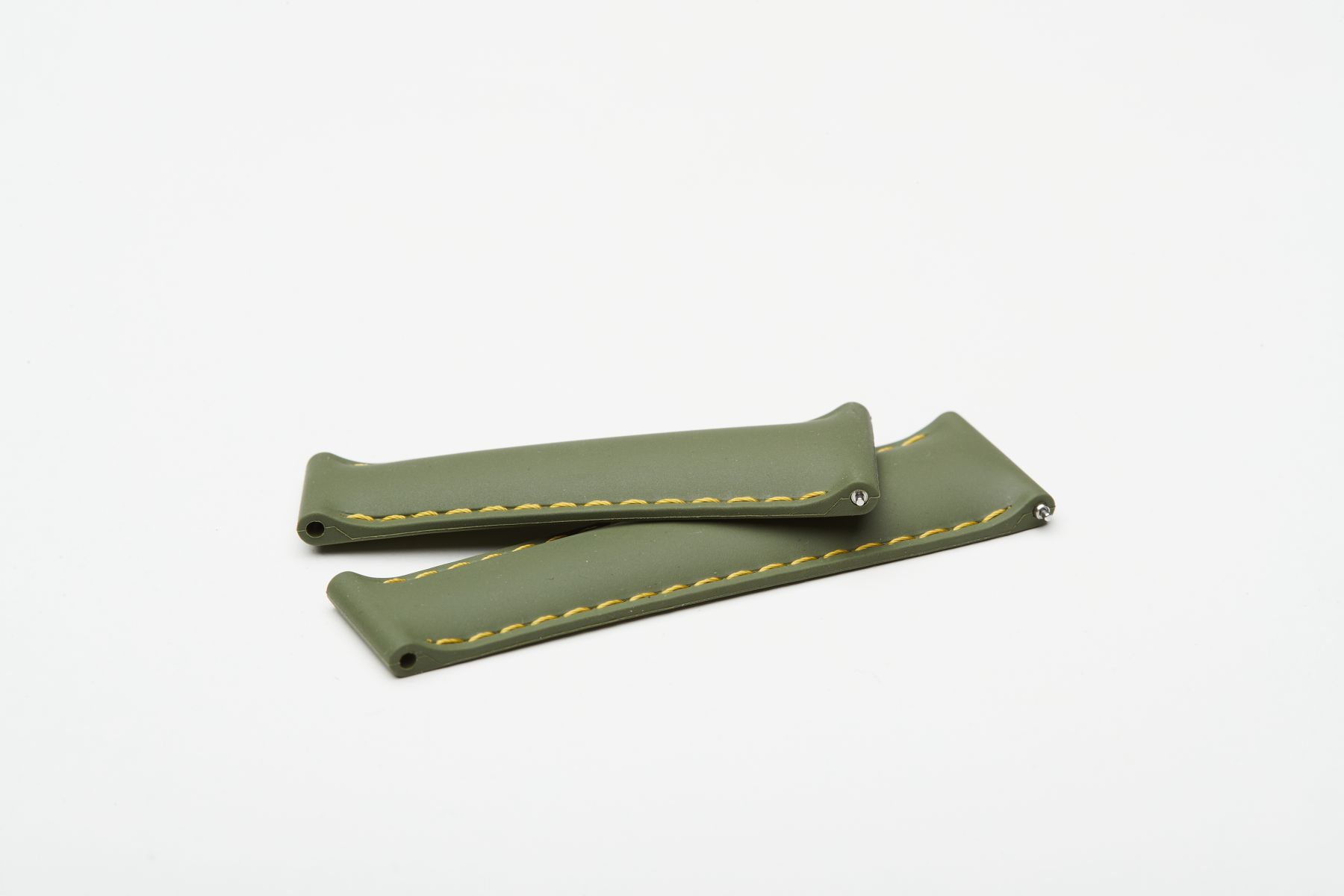 Khaki Green / Yellow stitching / Natural Rubber Band 20mm for Rolex Daytona / Quick Release