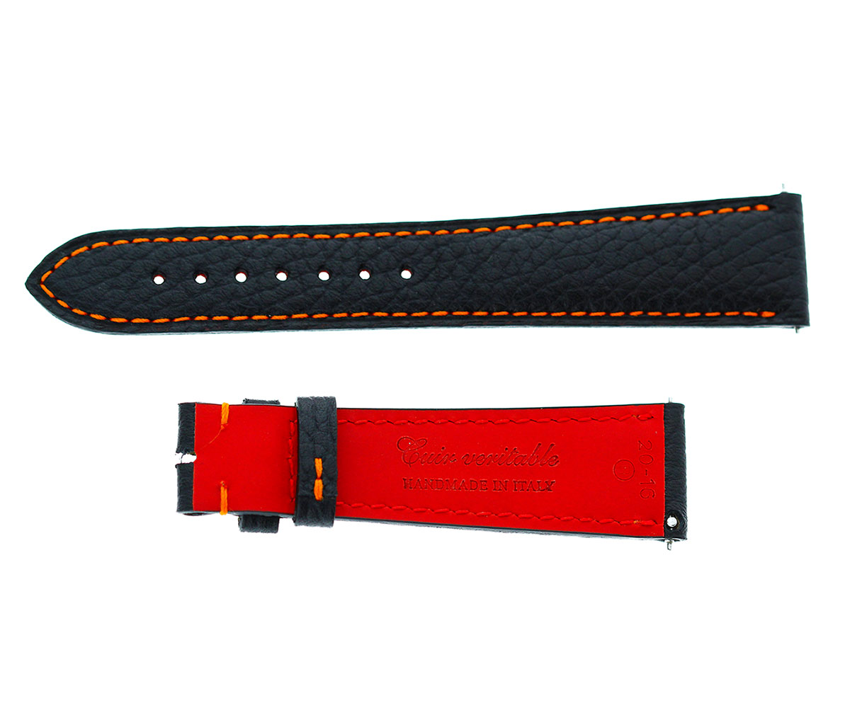 Black Calfskin leather strap for Rolex Milgauss style 20mm