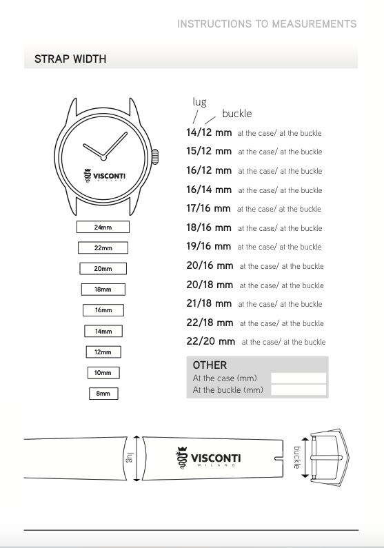 Instructions to measurements - Strap Width
