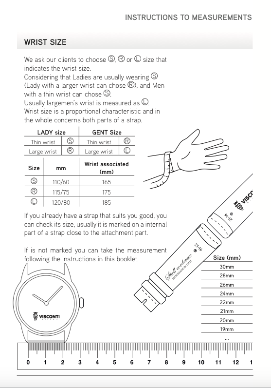 Instructions to measurements for Visconti Milano bespoke straps