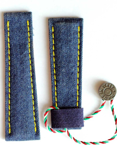 Rolex Daytona watch strap Denim Jeans Material Visconti Milano handcrafted made in Italy