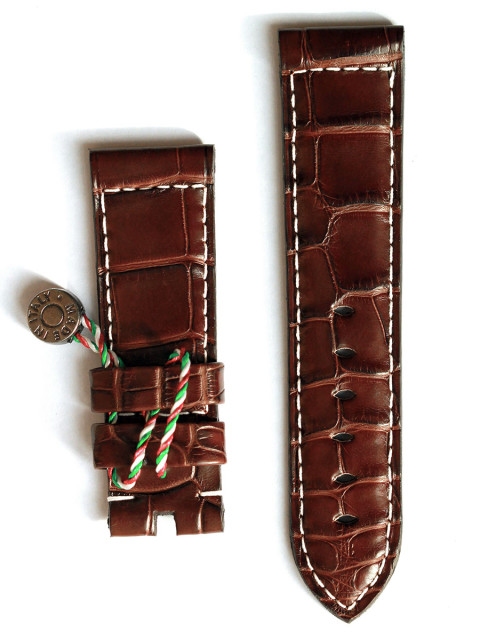 Superior Quality Chocolate Matte Alligator leather Visconti Milano watch straps handmade in Italy for Panerai style timepieces