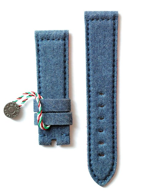 Panerai watch strap Denim Jeans Material Visconti Milano handcrafted made in Italy