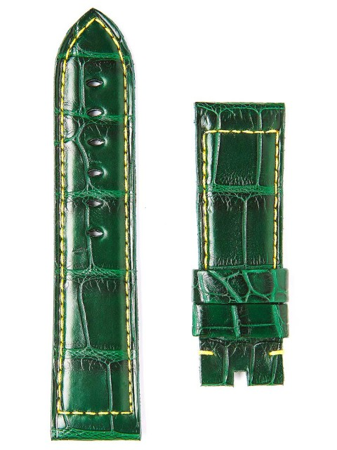 Superior Quality Green Matte Alligator leather Visconti Milano watch straps handmade in Italy for Panerai style timepieces