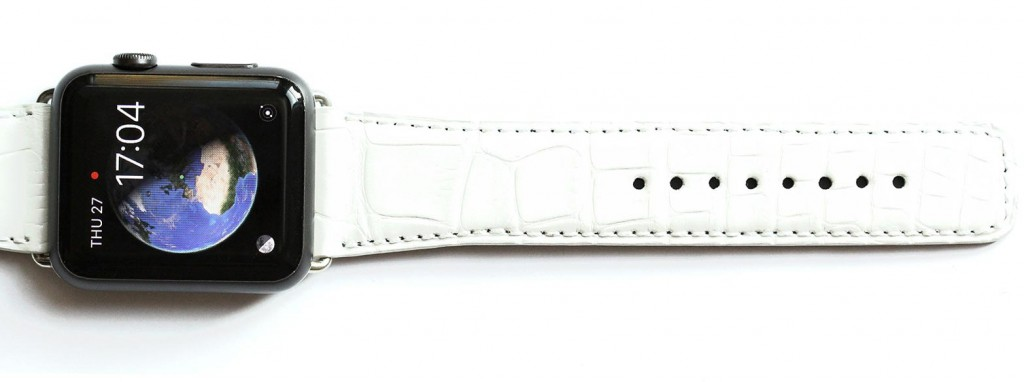 Mat white alligator leather apple watch strap 42mm
