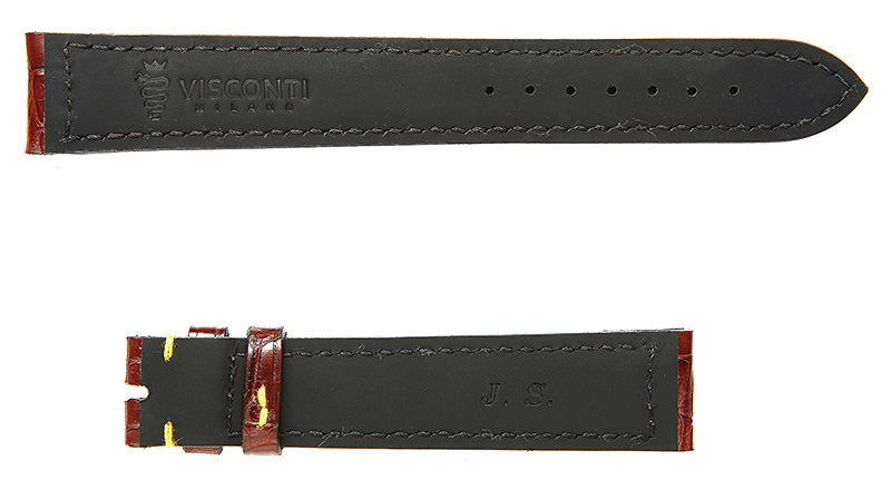Visconti Milano bespoke made to measure watch strap with personal initials