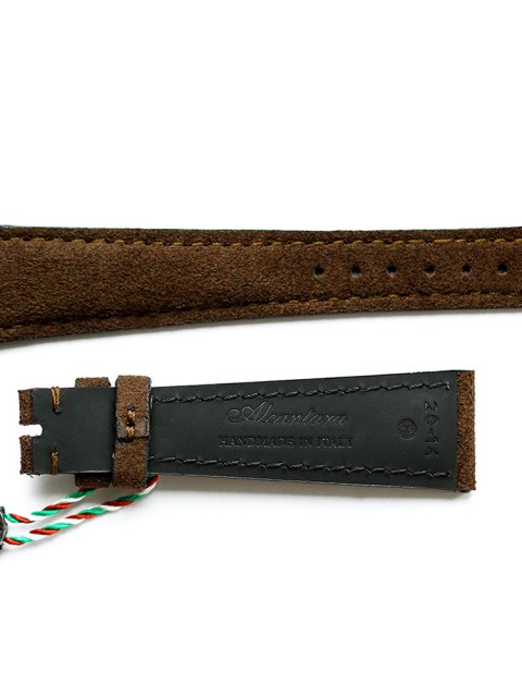 Chocolate Alcantara Visconti Milano watch strap handmade in Italy for general style timepieces