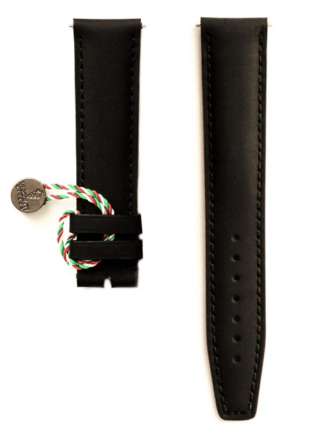 Black rubberized leather watch strap for Patek Breitling Breguet