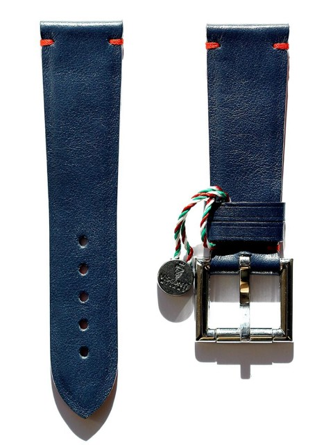 Blue Cuoio Leather Exclusive Visconti Milano watch strap with fixed stainless steel buckle