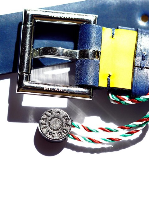 Blue Shell Cordovan Leather Exclusive Visconti Milano watch strap with fixed stainless steel buckle