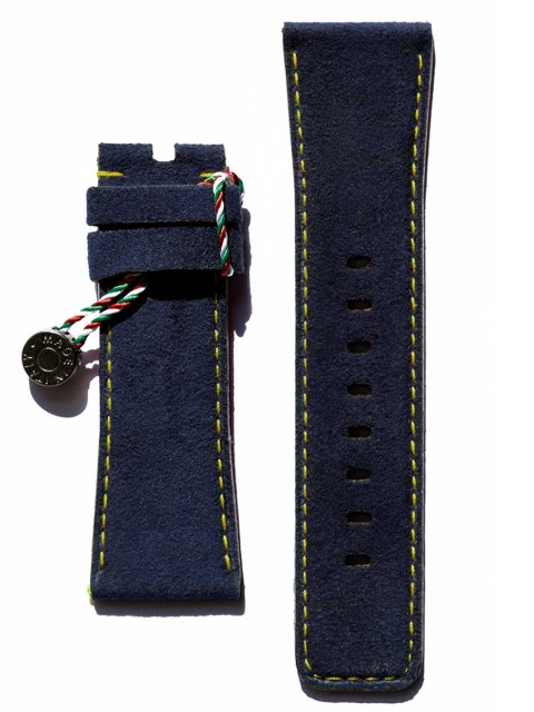 7Friday replacement watch strap alcantara blue yellow stitching handcrafted italy