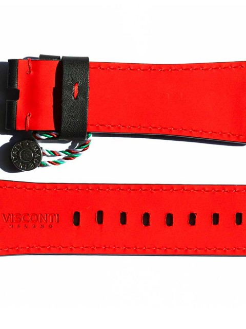 7Friday replacement watch strap blackn leather red rubberized lining handcrafted italy