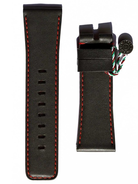 7Friday replacement watch strap blackn leather red stitching handcrafted italy