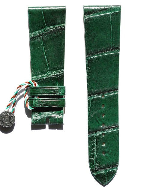 General style Matte Green Alligator leather watch strap by Visconti Milano handcrafted in Italy