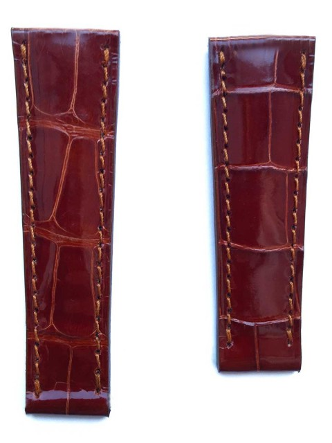 Rolex Daytona replacement watch strap in Honey Shiny Alligator leather handcrafted in Italy