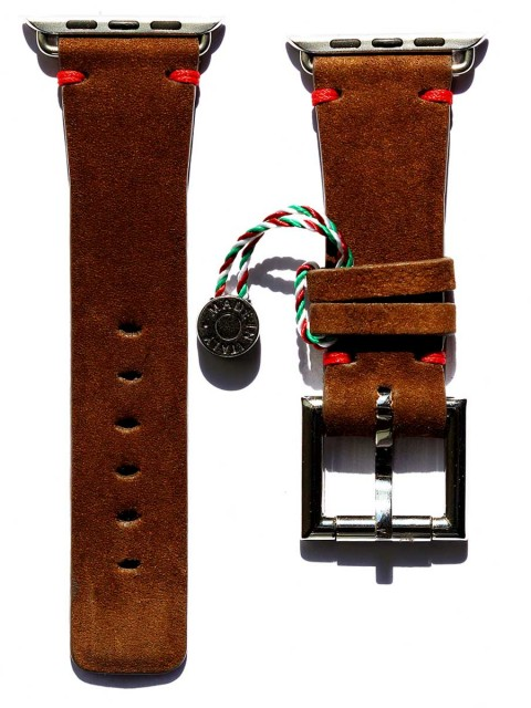 brown kudu reverse leather watch strap for apple watch 42mm fixed buckle visconti milano