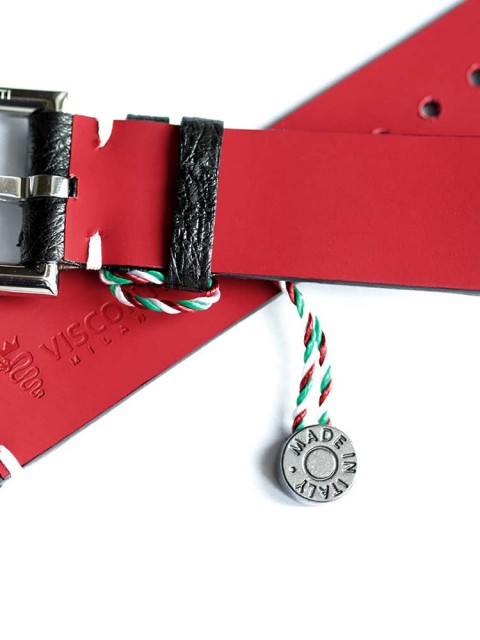 Black Exotic OstrichLeather Exclusive Visconti Milano watch strap with fixed stainless steel buckle