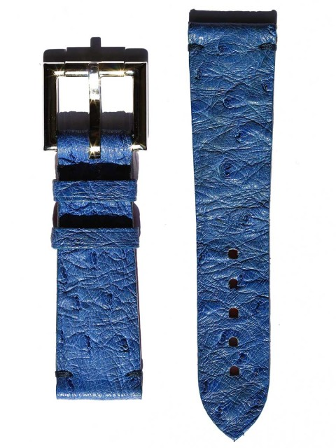 ostrich leather general style watch strap fixed buckle red alcantara lining