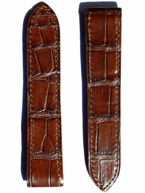Cartier Santos 100 style Matte Alligator leather watch strap by Visconti Milano handcrafted in Italy