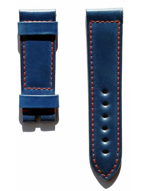 Blue Shell Cordovan leather watch strap 24mm for Panerai