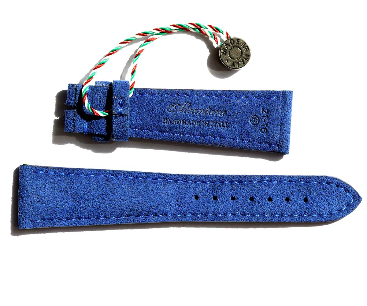 deep blue alcantara vegan watch strap visconti milano handmade italy