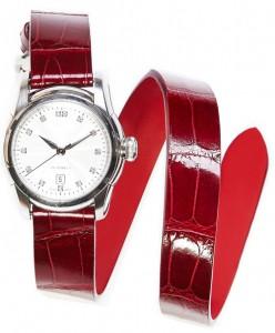 Red alligator shiny leather watch strap double wrist turn bespoke