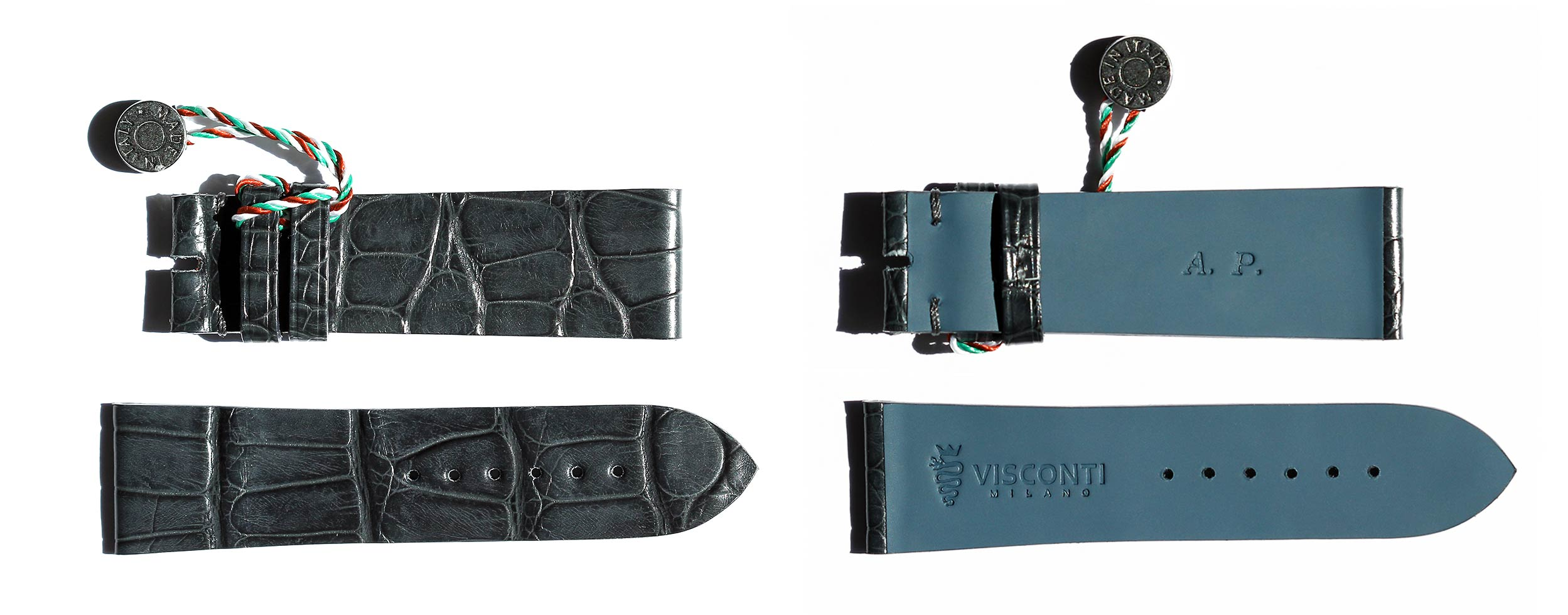 Bespoke matte Grey Alligator leather watch strap for Montblanc Worldtimer with personalization