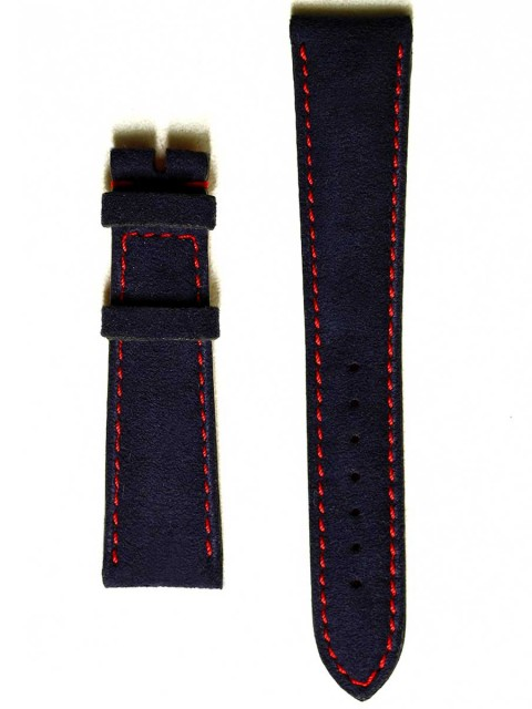 Classic Blue Italian Alcantara watch strap with red stiching and rubberized leather lining 20/16mm